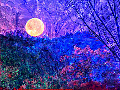 Digital Art - Wolf Moonset El Valle New Mexico IIi by Anastasia Savage Ealy
