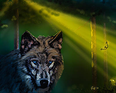 Montana Digital Art - Wolf Of The Dark Wood by J Griff Griffin