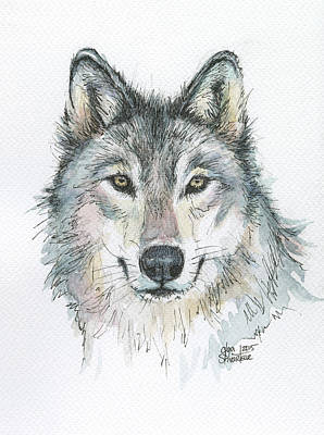 Wolf Wall Art - Painting - Wolf by Olga Shvartsur
