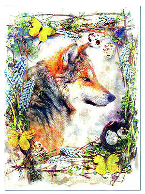 Digital Art - Wolf Portrait by Kathy Kelly