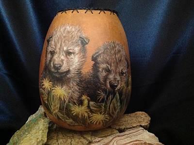 Mixed Media - Wolf Pups  #go74 by Barbara Prestridge