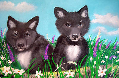 Wolf Pup Painting - Wolf Pups by Nick Gustafson