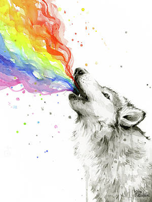 Black And White Art Painting - Wolf Rainbow Watercolor by Olga Shvartsur