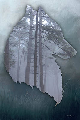 Digital Art - Wolf Silhouette In The Woods by Ericamaxine Price