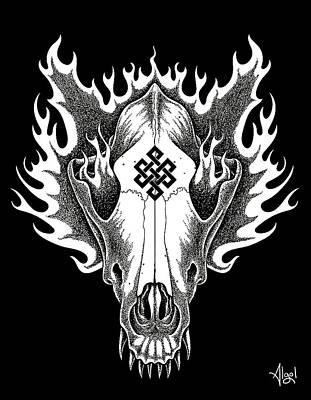 Drawing - Wolf Skull by Bard Algol