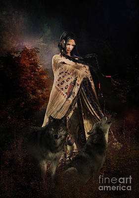 Animals Mixed Media - Wolf Song by Shanina Conway