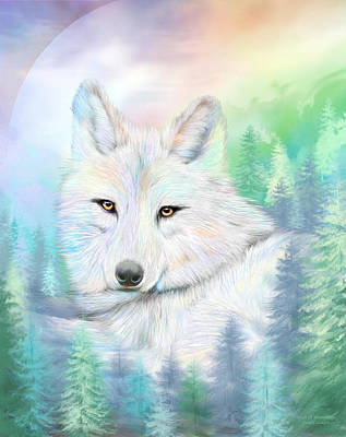 Mixed Media - Wolf - Spirit Of Illumination by Carol Cavalaris