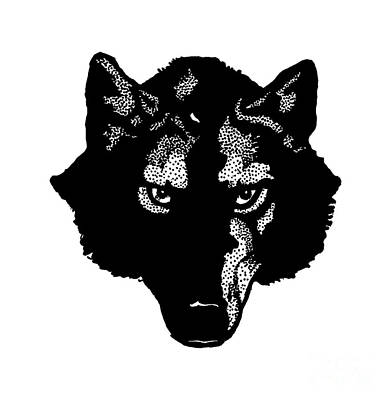 Graphic Drawing - Wolf Tee by Edward Fielding