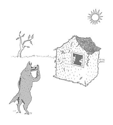 Drawing - Wolf Uses Asthma Inhaler by Liana Finck