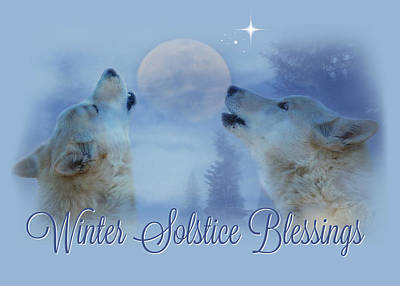 Winter Solstice Wall Art - Photograph - Wolf Winter Solstice Blessings by Stephanie Laird