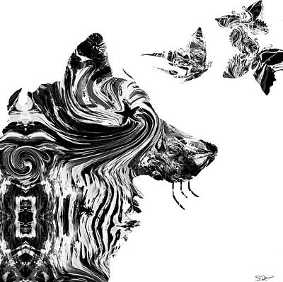 Wolf With Butterflies Art Print by Abstract Angel Artist Stephen K