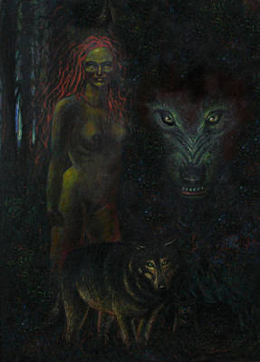 Painting - Wolf Woman by Genio GgXpress