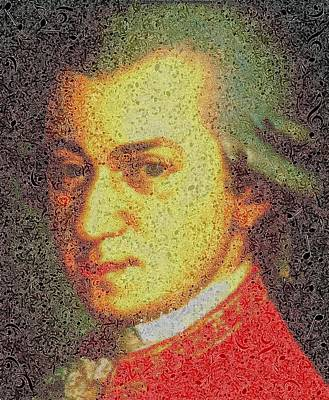 Painting - Wolfgang Amadeus Mozart - Music Notes by Samuel Majcen