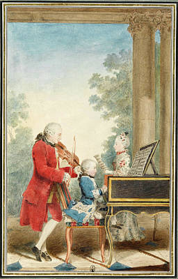 Louis Carmontelle Drawing - Wolfgang Amadeus Mozart Playing In Paris With His Father Jean-georg Leopold And His Sister Maria-an by Louis Carrogis Carmontelle