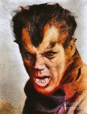 Wolfman Painting - Wolfman In London, 1935, Vintage Horror by Mary Bassett