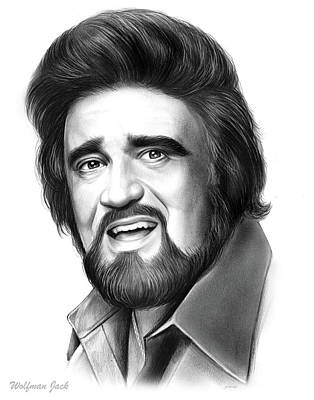 Jockey Drawing - Wolfman Jack by Greg Joens