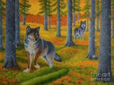 Animal Artist Painting - Wolf's Forest by Veikko Suikkanen