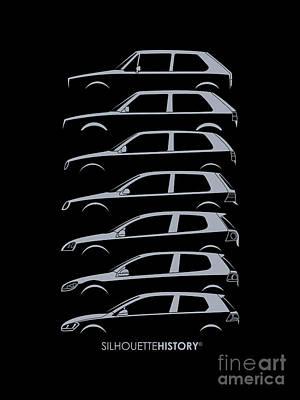 Golf Digital Art - Wolfsburger Hatch Silhouettehistory by Gabor Vida