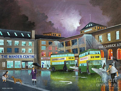 Painting - Wolverhampton Trolley Bus Terminus by Ken Wood