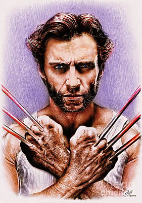 Science Fiction Drawings - Wolverine Adamantium Version 2 by Andrew Read