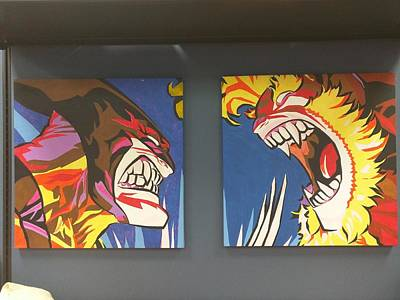 Xmen Painting - Wolverine And Sabertooth by Ralph Rivera