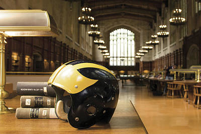Photograph - Wolverine Helmet In Law Library by Michigan Helmet