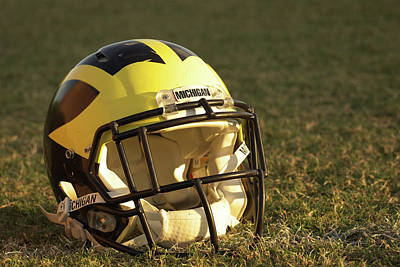 Photograph - Wolverine Helmet In Morning Sunlight by Michigan Helmet