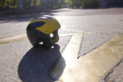 Photograph - Wolverine Helmet On The Diag by Michigan Helmet