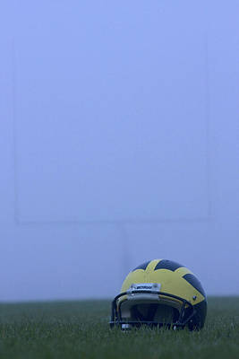 Wolverine Helmet On The Field In Heavy Fog Art Print