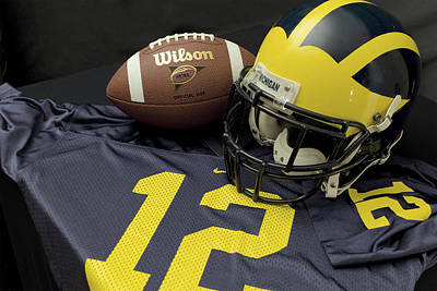 Photograph - Wolverine Helmet With Football And Jersey by Michigan Helmet