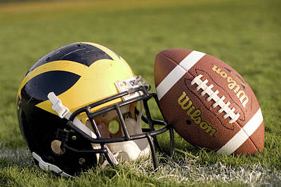 Photograph - Wolverine Helmet With Football On The Field by Michigan Helmet