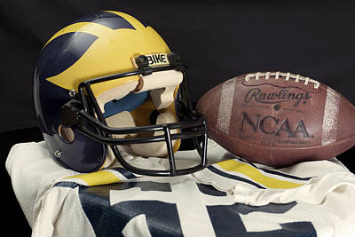 Photograph - Wolverine Helmet With Jersey And Football by Michigan Helmet
