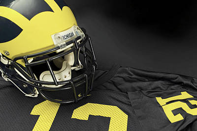Photograph - Wolverine Helmet With Jersey by Michigan Helmet