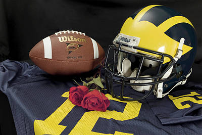 Photograph - Wolverine Helmet With Roses, Jersey, And Football by Michigan Helmet