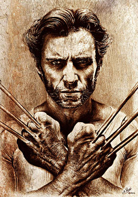 Animals Drawings - Hugh Jackman as Wolverine sepia mix by Andrew Read
