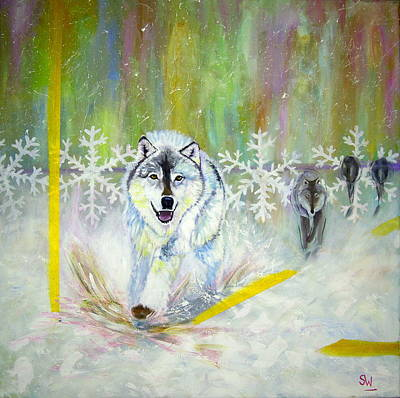 Painting - Wolves Approach by Shirley Wellstead