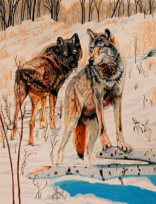 Painting - Wolves At Day Break by Cheryl Poland