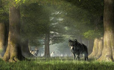 Digital Art - Wolves In The Forest by Daniel Eskridge