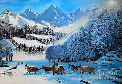 Animal Behavior Painting - Wolves In The Snow by Ed Churchill