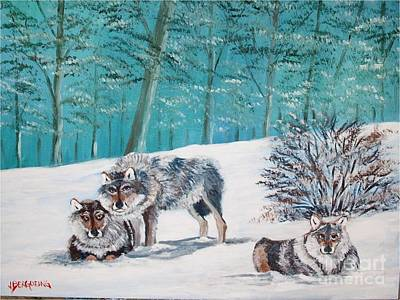 Painting - Wolves In The Wild by Jean Pierre Bergoeing