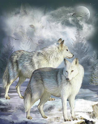 Mixed Media - Wolves In Winter by Carol Cavalaris