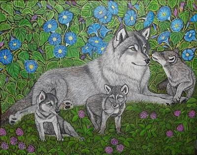 Wolf Pup Painting - Wolves, Mama And Pups by Sofya Mikeworth