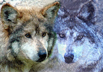 Digital Art - Wolves by Tom Romeo