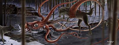 Giant Squid Painting - Wolves Vs Squid by Matt Upholz