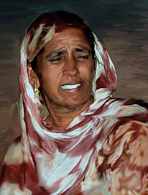 Digital Art - Woman A Struggler by Manjot Singh Sachdeva