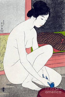 Asian Nude Drawing - Woman After Bath  by Goyo Hashiguchi