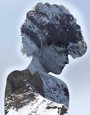 Woman And A Snowy Mountain Art Print