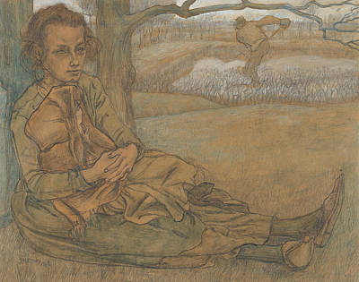 Drawing - Woman And Child Resting, A Man Working In The Field Beyond by Jan Toorop