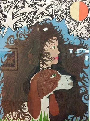 Woman And Dog Art Print