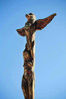 Photograph - Woman And Eagle Totem Pole by Marilyn Hunt
